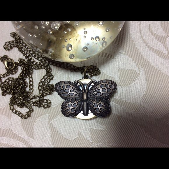"""🎉HP 9/19🎉  DAINTY BUTTERFLY WATCH NECKLACE ⏱ Cute Dainty Butterfly Styled 1 1/2"""" Opening Working Watch Necklace on a 32"""" Chain.  NWOT in Original Packaging. Jewelry Necklaces"""