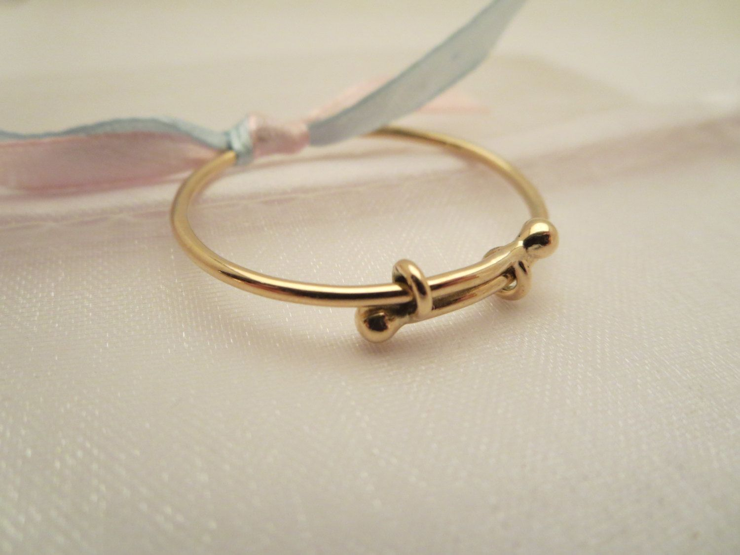 Adorable expandable baby bangle bracelet in solid 14k gold ...