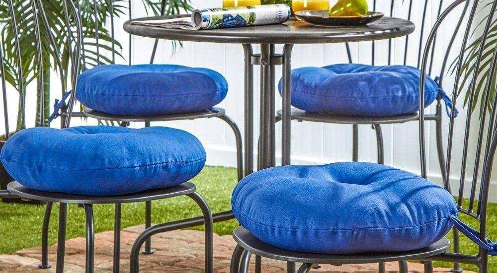 Solid 15 Inch Round Outdoor Aqua Blue Bistro Chair Cushion Fade Resistant 15 Inch Blue Chair Cushion Blue Bistro Chairs Bistro Chairs Chair Cushions