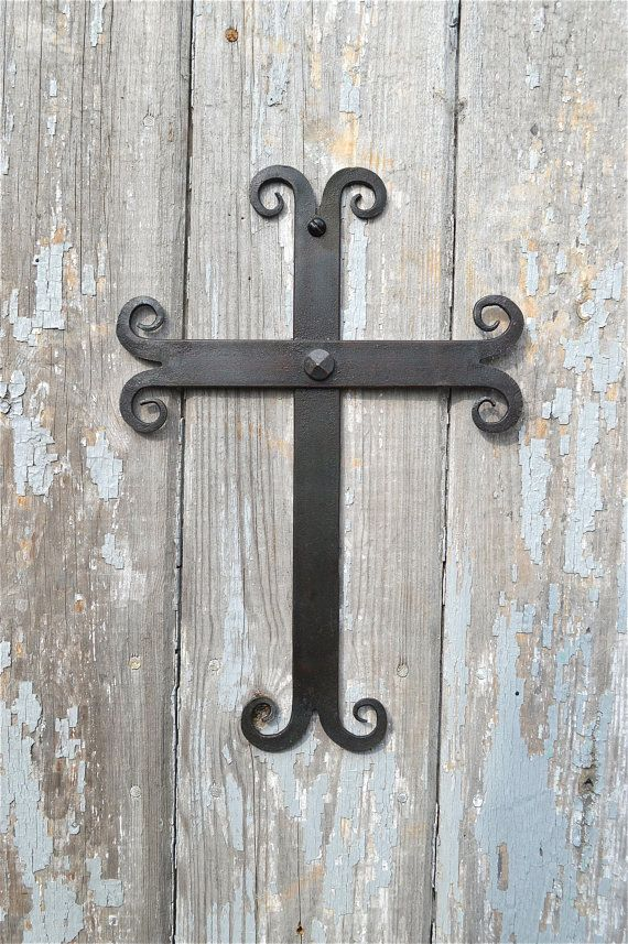 Hand Forged Wrought Iron Medieval Gothic Wall Cross