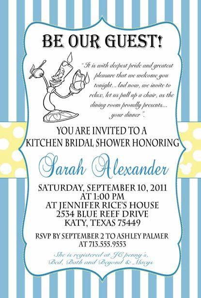Beauty and the Beast bridal baby or birthday invitation Custom
