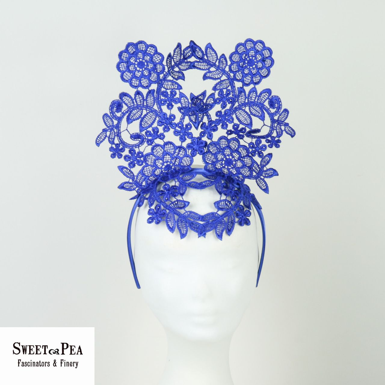 Lace Crown Fascinator Blue - Style 5 - Sweet Pea Fascinators   Finery 4883cb20707