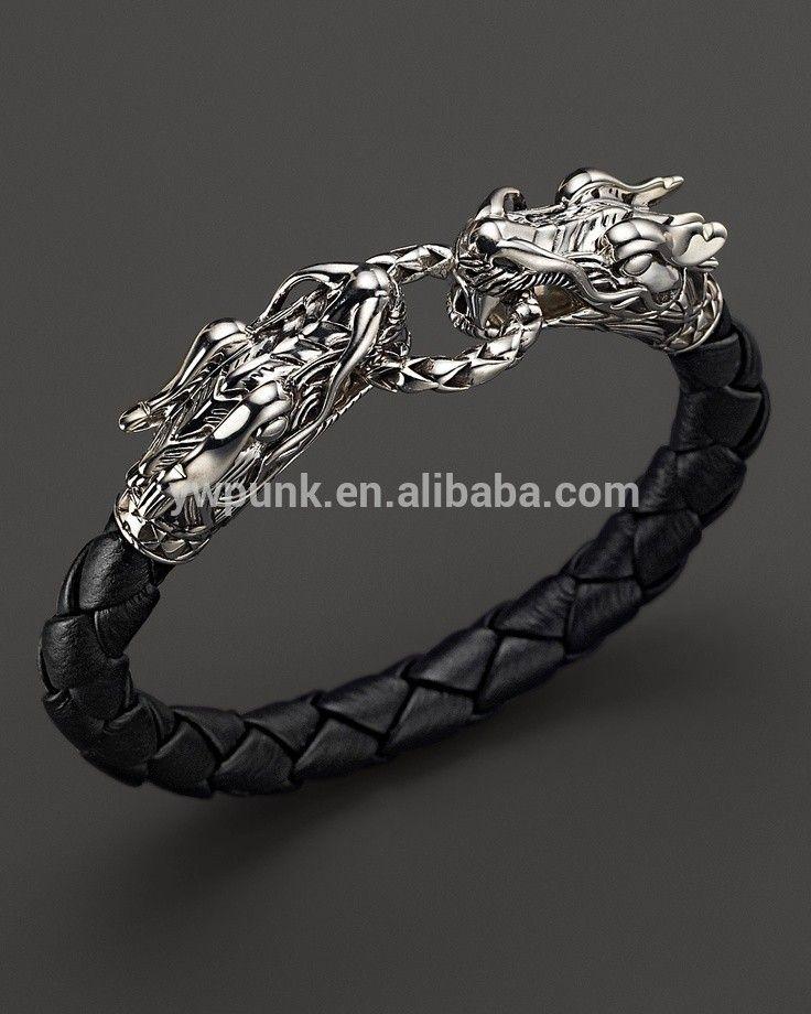 Silver Bracelets Men Leather Dragon Bracelet Mens Jewellery Fashion Dragons Searching Black