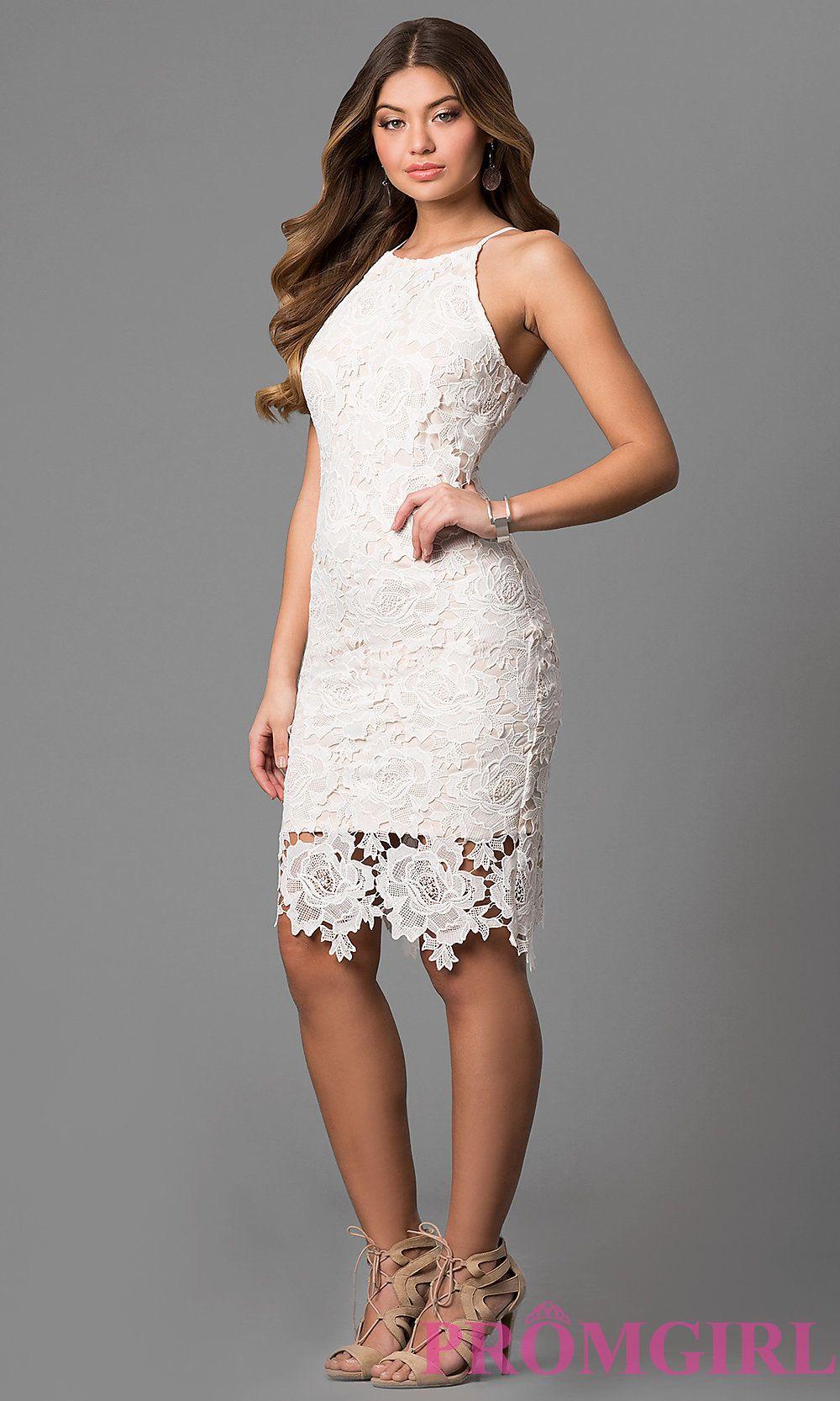 Knee Length Floral Lace Graduation Dress In Off White Graduation Party Dresses Lace White Dress Short Graduation Dresses [ 1666 x 1000 Pixel ]