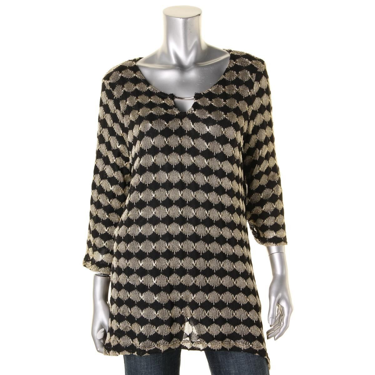 JM Collection Womens Metallic Printed Pullover Sweater