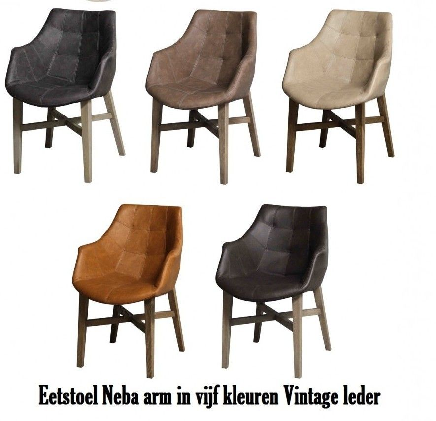 Stoel neba met armleuning leder 5 kleuren droomhuis for Eettafel stoel leer