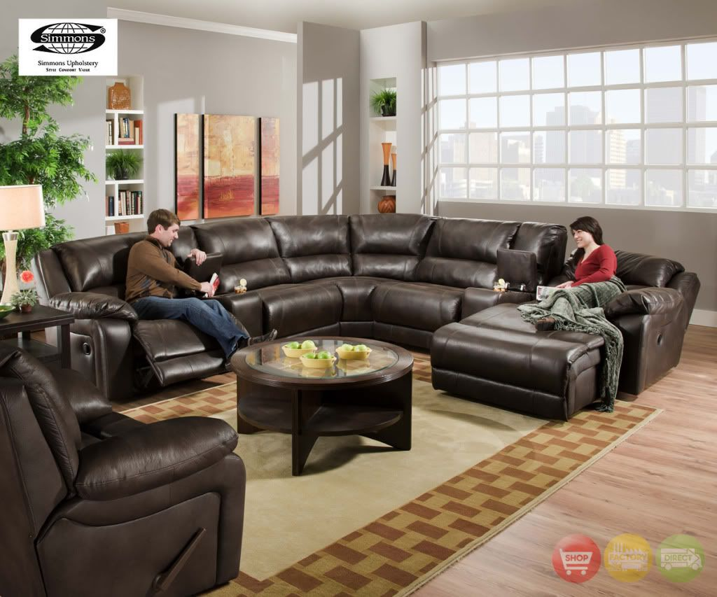 Simmons Bonded Leather Sectional Black Jack Coco 100 Bonded