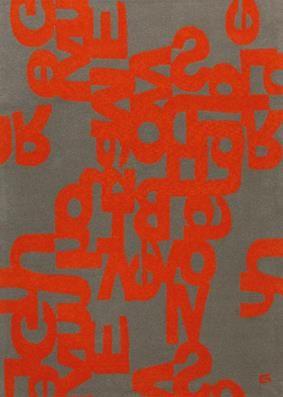 Alphabet Wool Rug In Orange And Grey By Dellarobbia