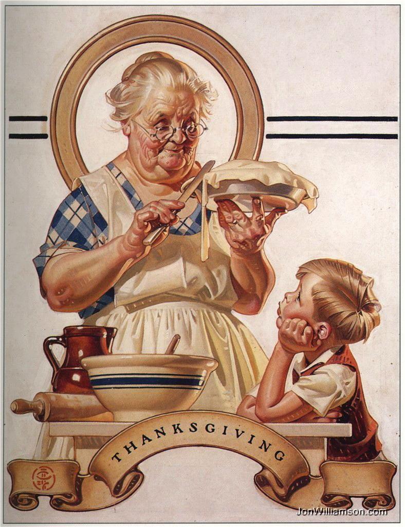 1935 JC Leyendecker Pie Making Grandma Quality Art Print Nice Vintage Colors
