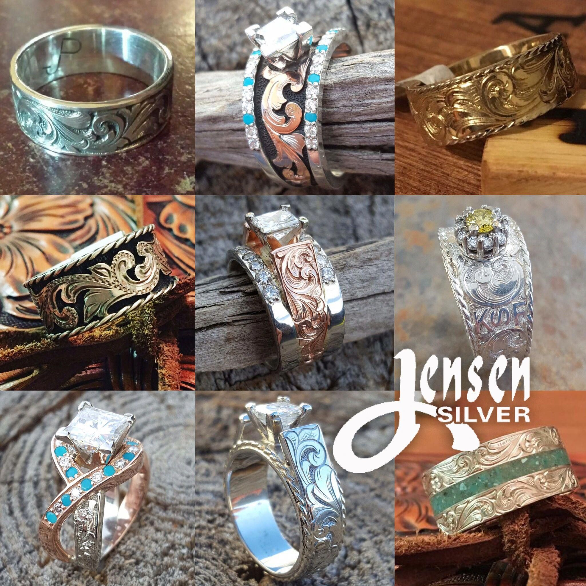 Jensen Silver Custom Engagement Rings And Wedding Bands Western Style And Uniquely Made Western Wedding Rings Western Engagement Rings Custom Engagement Ring