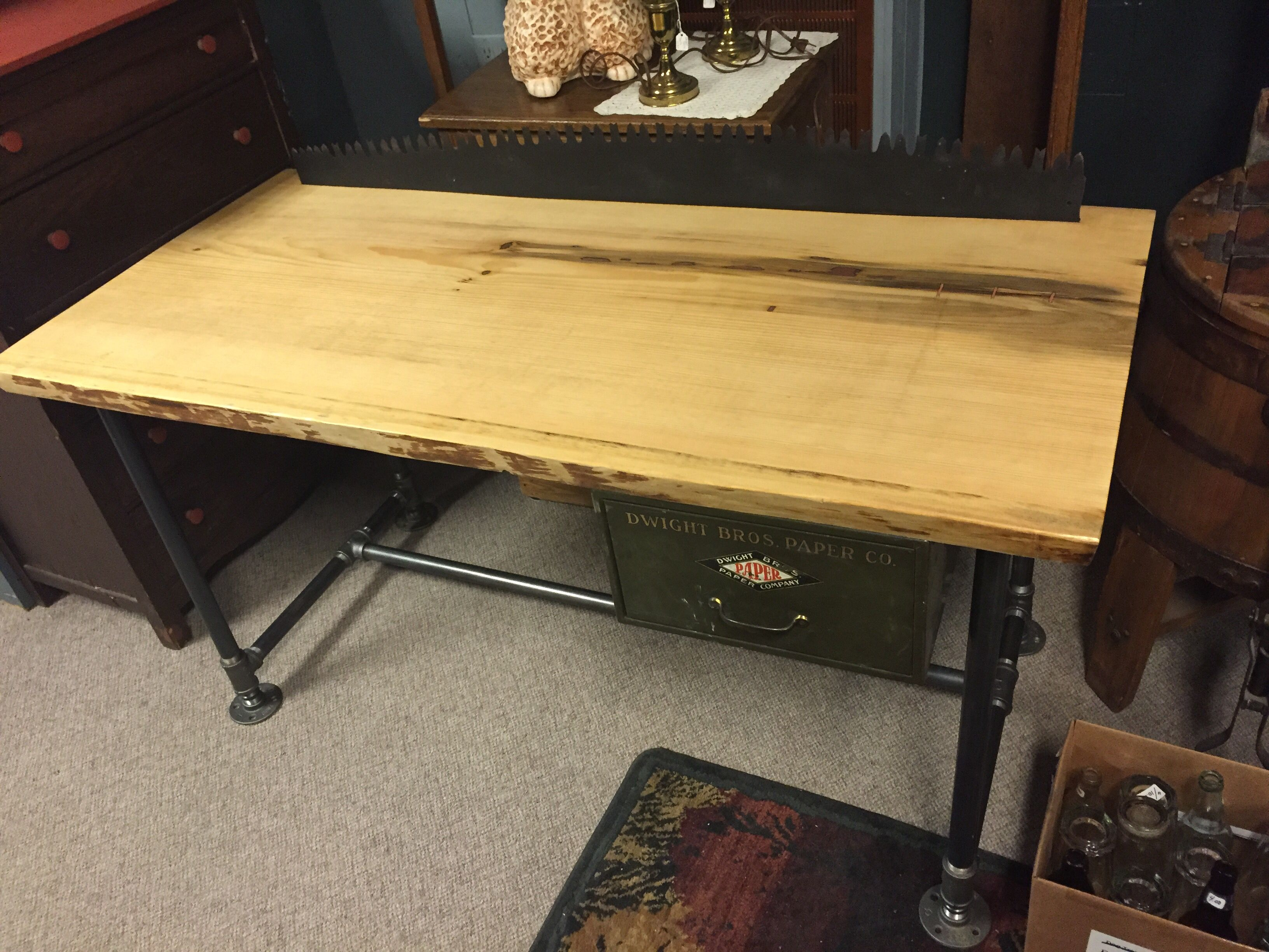 Pine Slab Industrial Pipe Coffee Table With Vintage Metal Drawer And Saw  Blade Backstop.