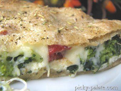 Ricotta stuffed spinach and broccoli pizza pie