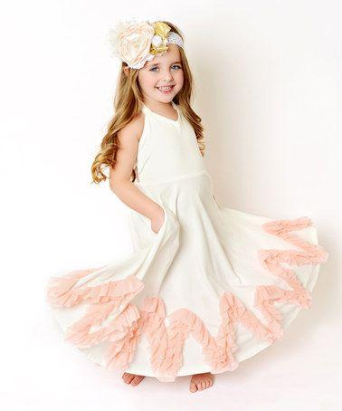 Another great find on #zulily! White & Pink Zigzag Ruffle Dress - Toddler & Girls #zulilyfinds