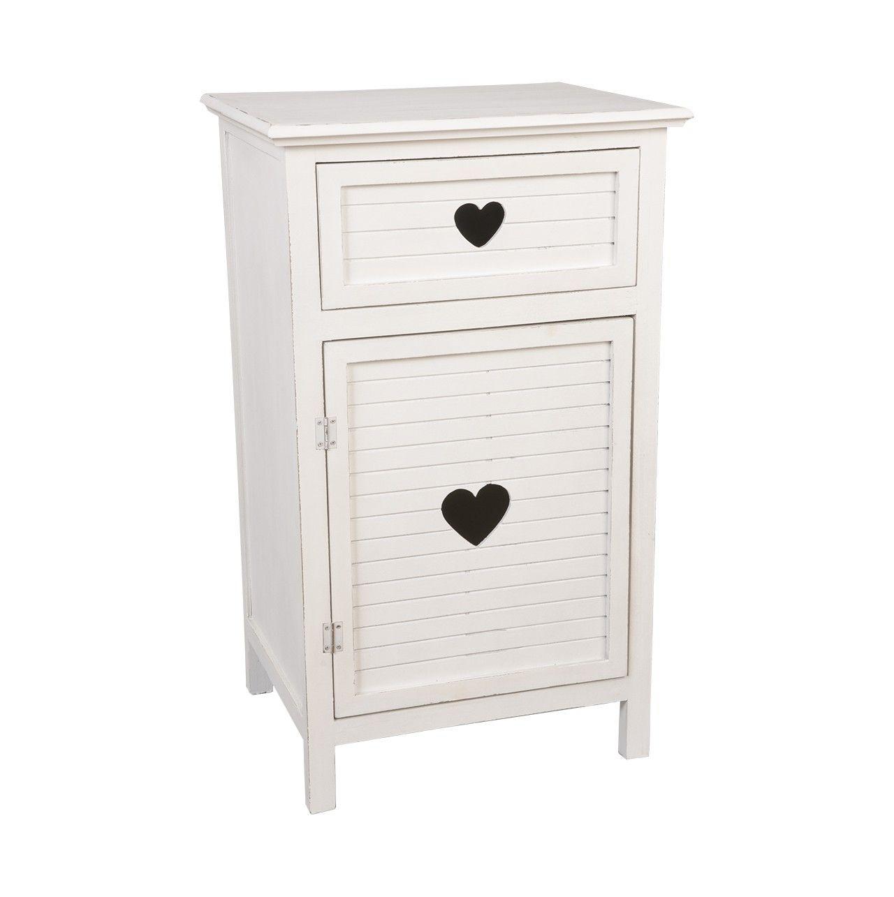 Mueble auxiliar de color #blanco con detalle de #corazón #negro ...