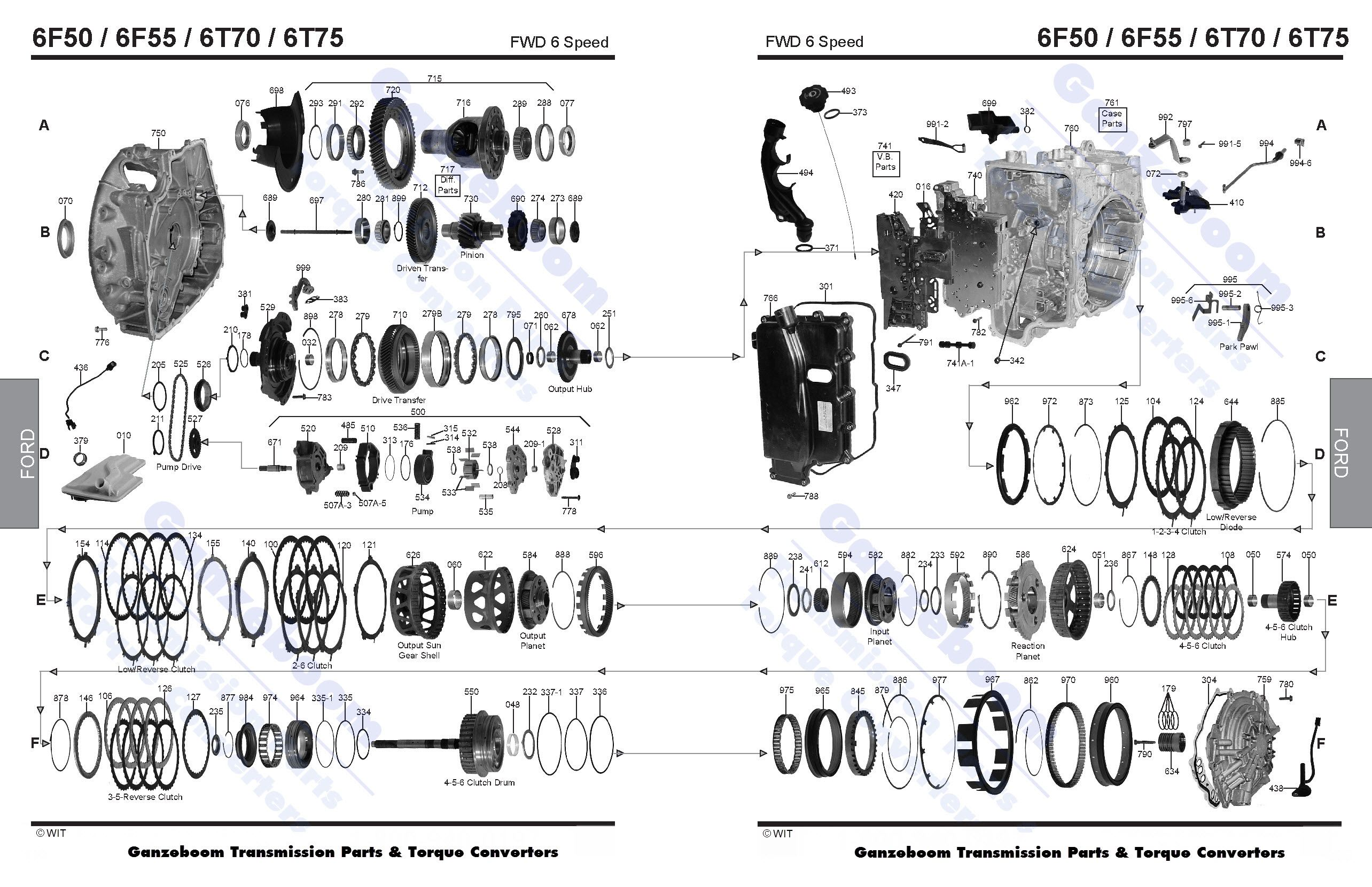ford transmission diagram exploded view