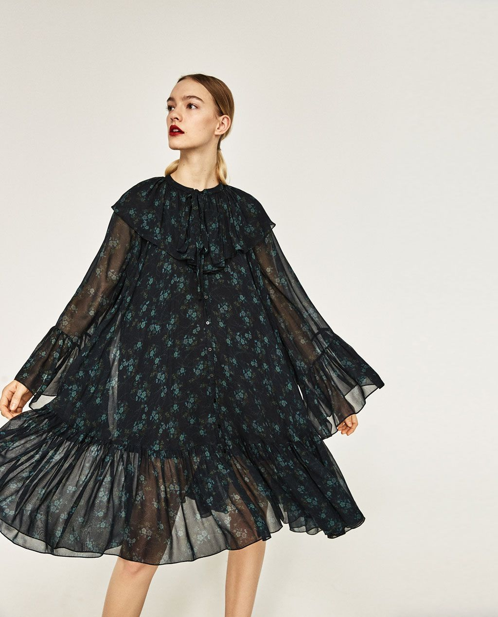b56a1763b78 Image 2 of SHORT STUDIO FLORAL DRESS WITH FRILLS from Zara ...