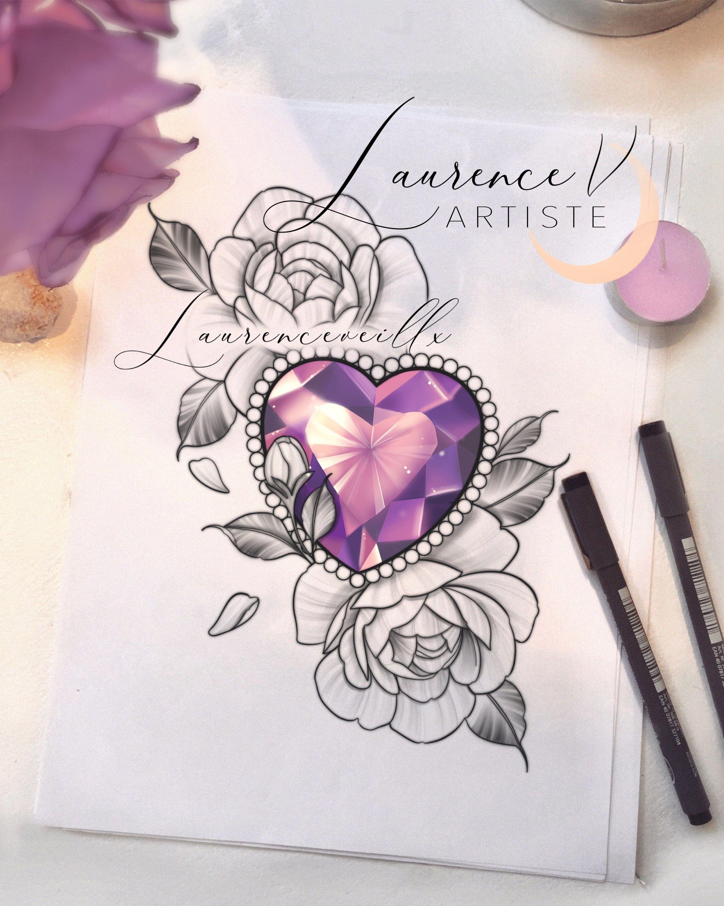Printable Tattoo Design Instant Download Tattoo Design Pink Diamond And Flowers Tattoo Thigh Tattoo Custom Tattoo Drawing For Women In 2021 Diamond Tattoo Designs Flower Thigh Tattoos Gem Tattoo