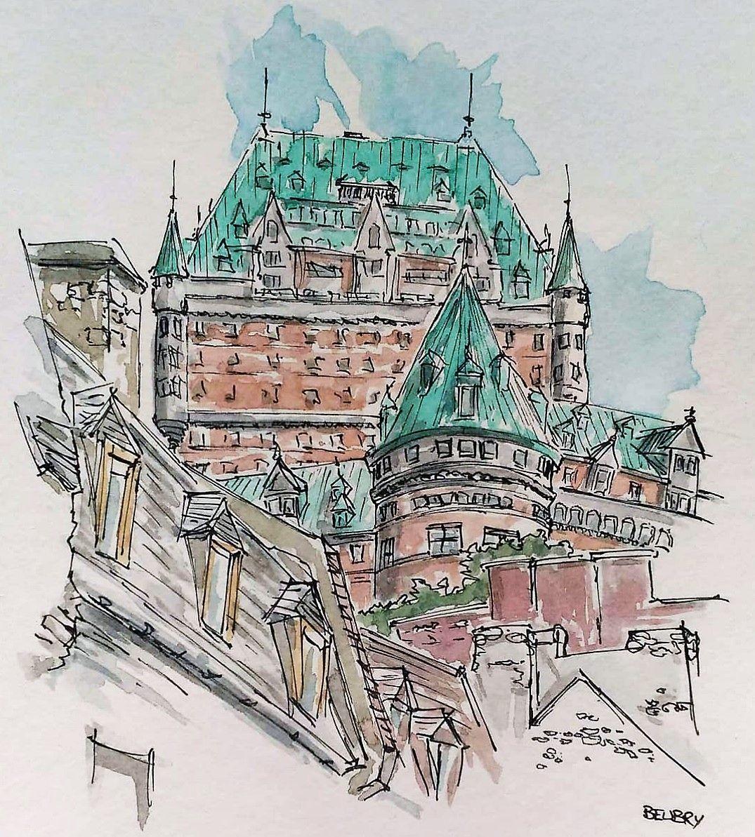 Chateau Frontenac Quebec Aquarelle Peinture Urban Sketch