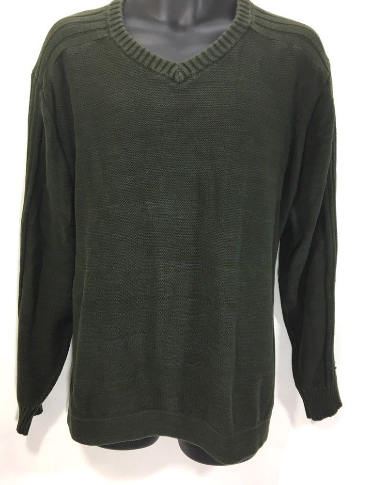 COLUMBIA Mens Sweater Size XXL   100% Cotton Green LS Crewneck Knit Top   Columbia  Crewneck 95345ccd2dfb