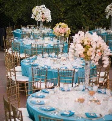 Centre pieces. Sky blue and rose gold theme | Wedding ideas ...