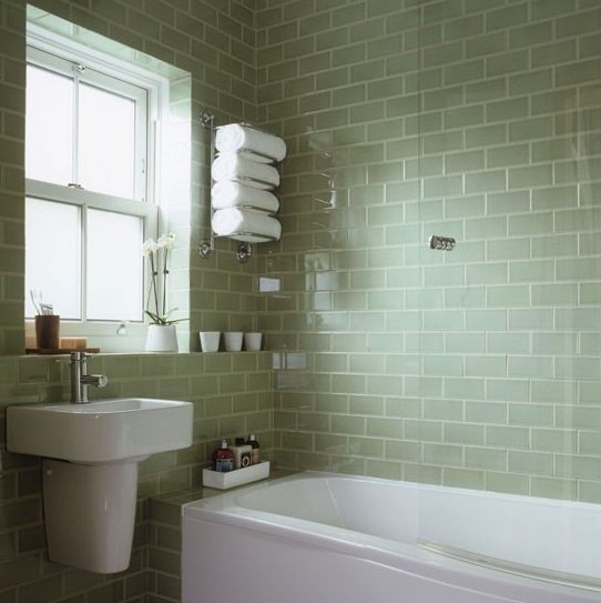 Pale Green Tiled Bathroom Basement Bathroom Bathroom