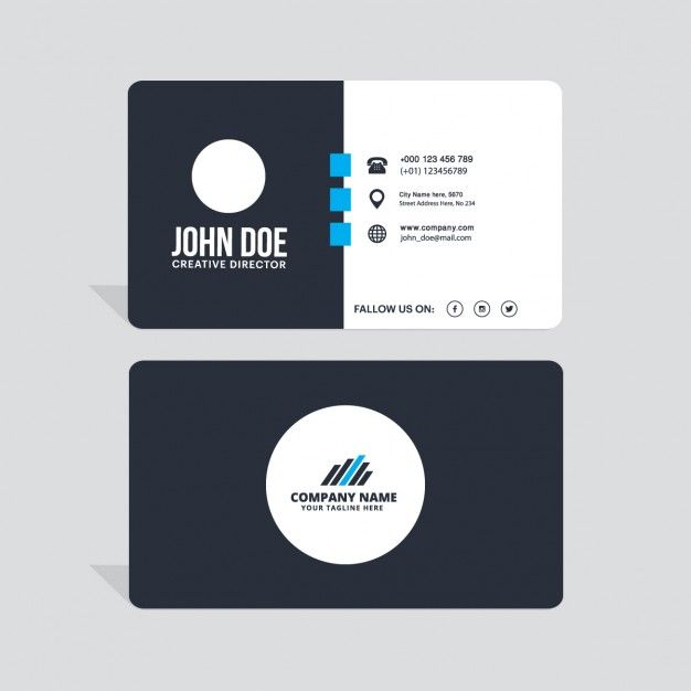 Modern black white and blue business card free vector referco modern black white and blue business card free vector reheart Choice Image