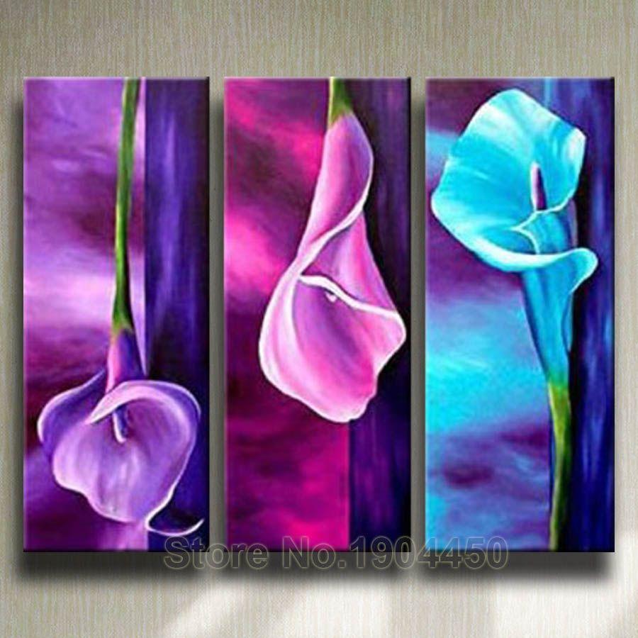 Günstige Gerahmte Handgemachte Ölgemälde Auf Leinwand Lila Rosa Blaue Blume  Große Abstrakte Kunst Bild 3 Stücke