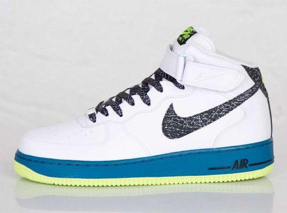 Nike Air Force 1 Mid: WhiteBlackGreen AbyssVolt | Nike