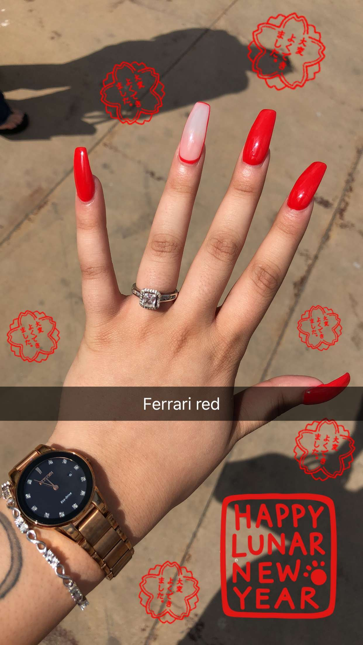 Red coffin 🍒 in 2019 | Nail colors, Beauty nails, Nails