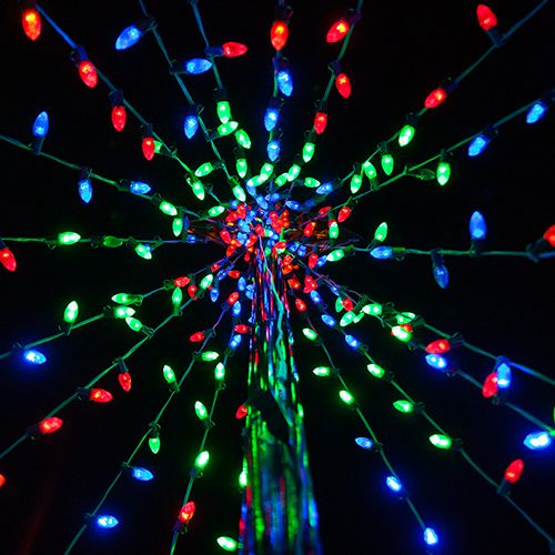 View from the inside of a DIY Christmas tree made out of a basketball pole  and LED Christmas lights! - DIY Christmas Ideas: Make A Tree Of Lights Using A Basketball Pole