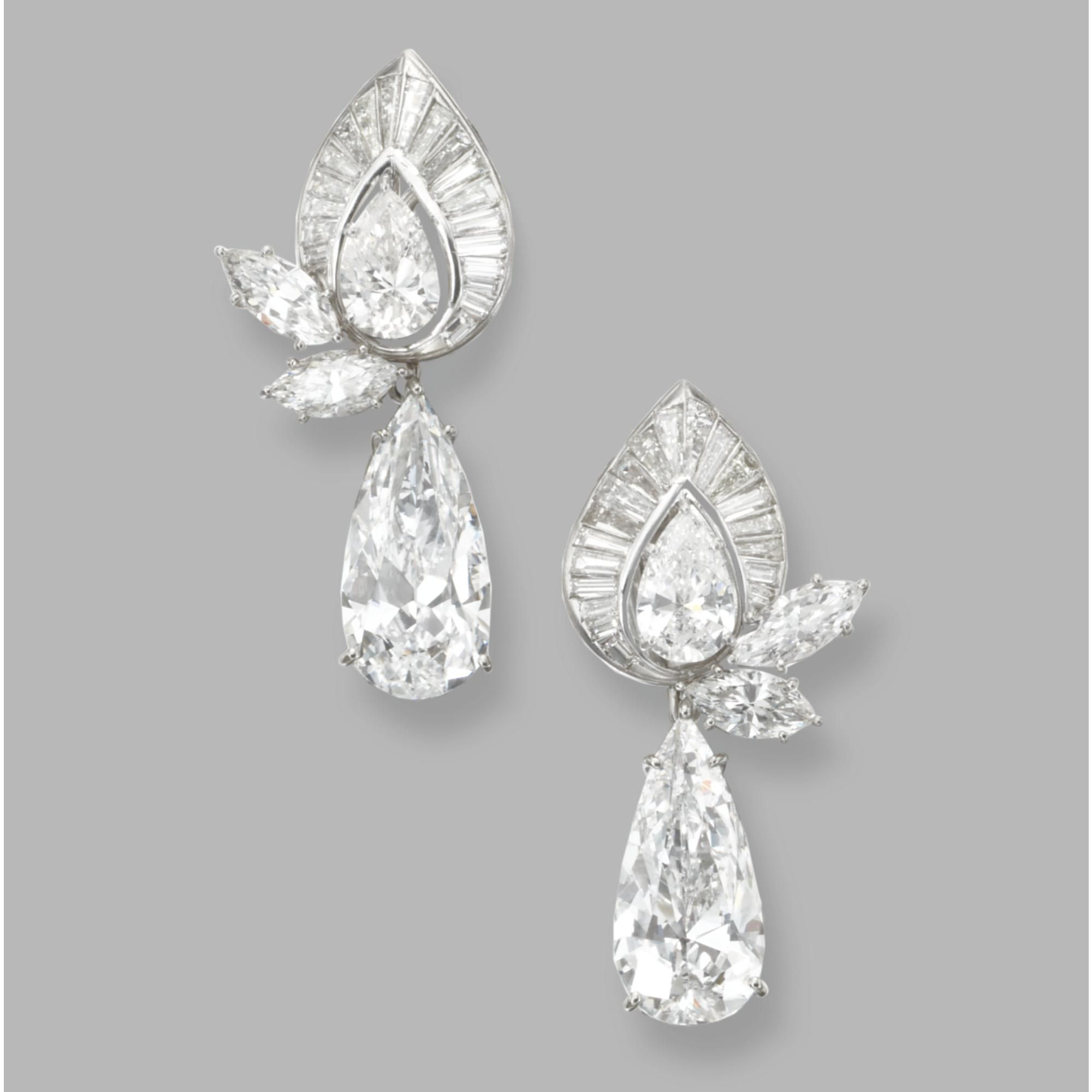 The Pear Shaped Diamond Pendants Weighing 5 04 And 00 Carats Tops Set With Diamonds 1 85 Marquise