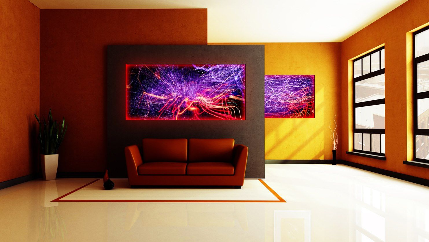 Dark Room With Yellow Walls Decorated Illuminated Aluminum Prints