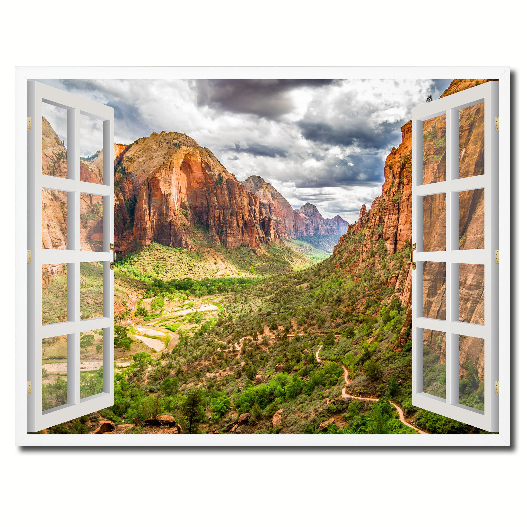 landscape zion national park picture 3d french window canvas print landscape zion national park picture 3d french window canvas print with frame home decor wall art collection