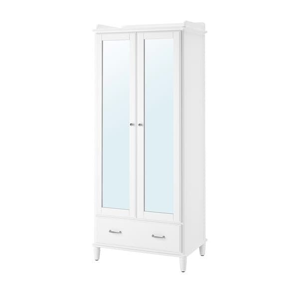 Armadio Ikea Bianco Due Ante.Tyssedal Guardaroba Bianco Vetro A Specchio 88x58x208 Cm
