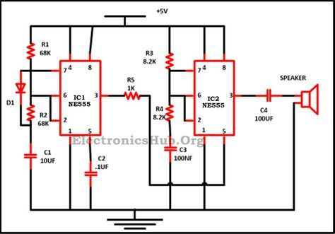 police siren circuit using ne555 timer police siren and circuit rh pinterest com