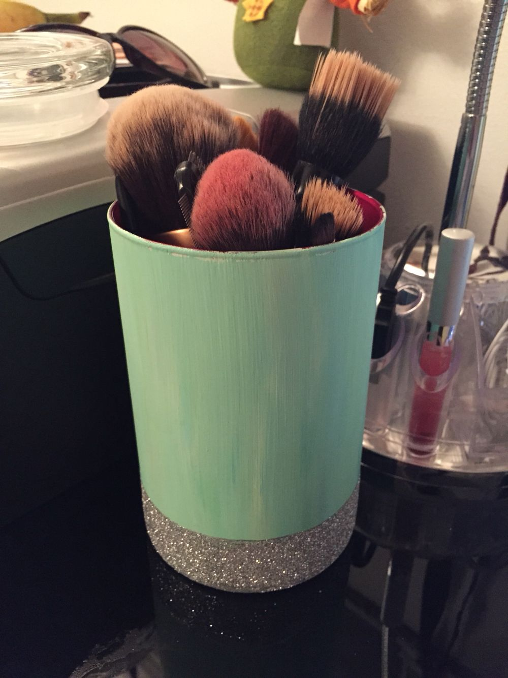 Make up brush holder.