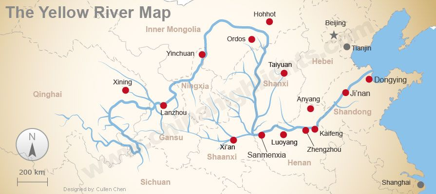 Yellow River Map Anyang 1300 1046 Yellow River River Geography