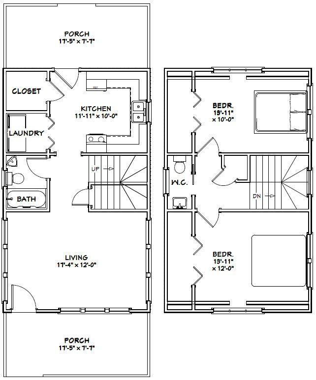 18x30 House 18x30h11b 999 Sq Ft Excellent Floor Plans Floor Plans How To Plan Garage Plans