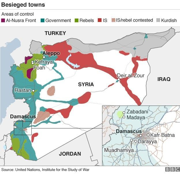 Syria aid drops by air not imminent syria middle east and politics map showing besieged towns gumiabroncs Image collections