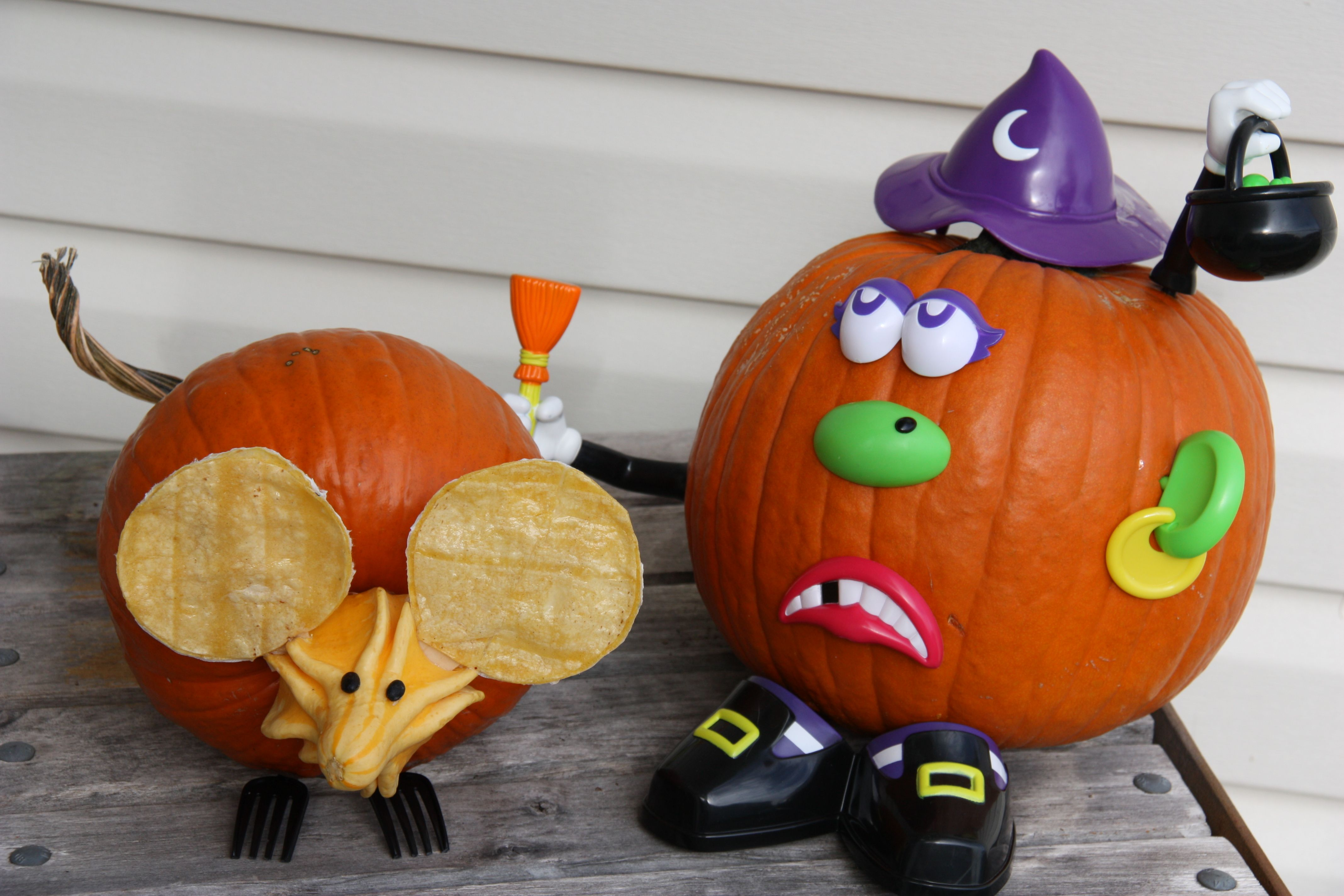 Mouse pumpkin (on left) made with:  a pumpkin with a long, twisty stem; a gourd; two black beans (eyes); some Mod Podged tortillas & two plastic forks.