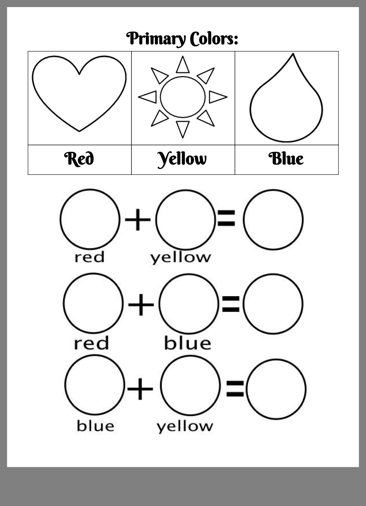 Pin By Swan Shore Studios On K 1 Kindergarten Colors Mixing Primary Colors Color Worksheets