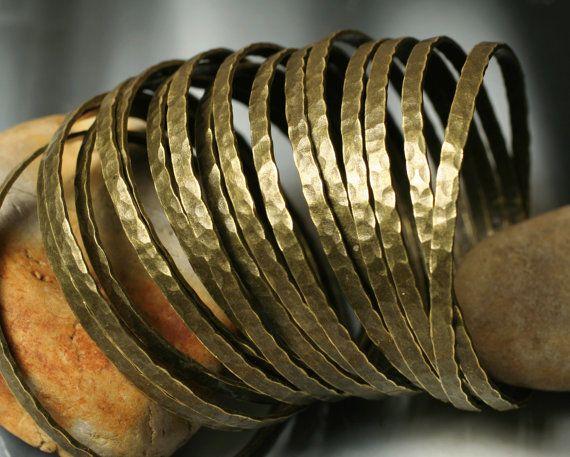 Stacking Bangle Bracelets Antique Brass Bangles by GemmeTresor