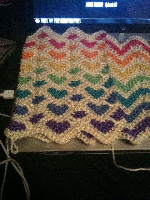 Reversible sweetheart and ripple afghan in rainbow colours | Crochet ...