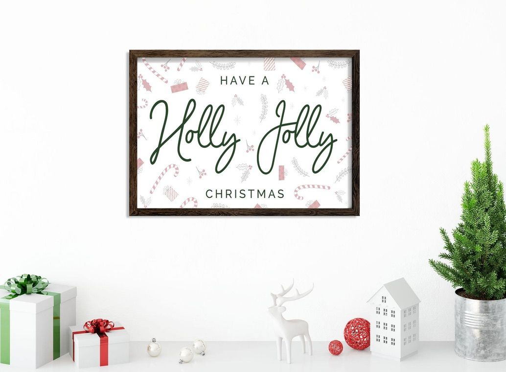 Have A Holly Jolly Christmas Wood Framed Wall Decor Etsy In 2020 Christmas Wall Decor Frame Wall Decor Frames On Wall