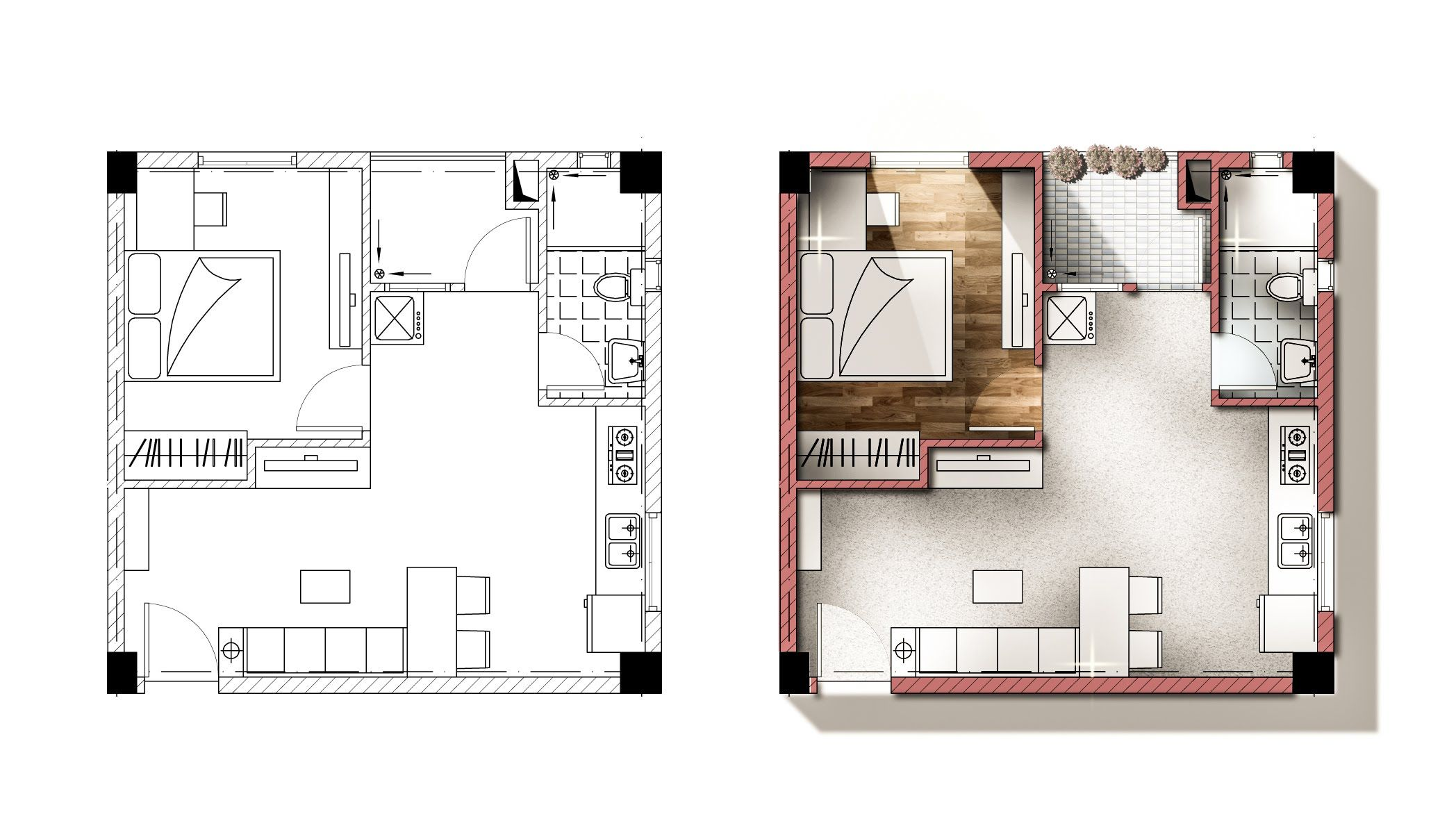 Architecture Plan Render By Photoshop Autocad Plans