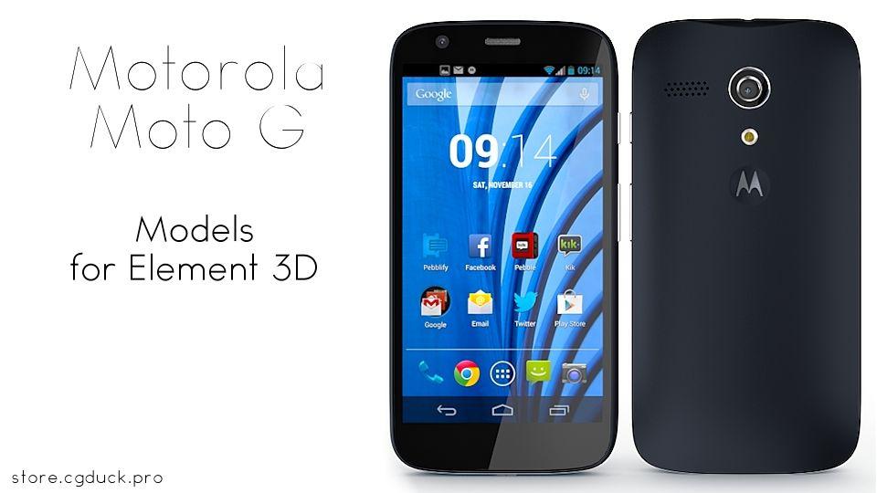Motorola Moto G for Video Copilot's Element 3D. Product Link: http://store.cgduck.pro/element-3d/motorola-moto-g.html