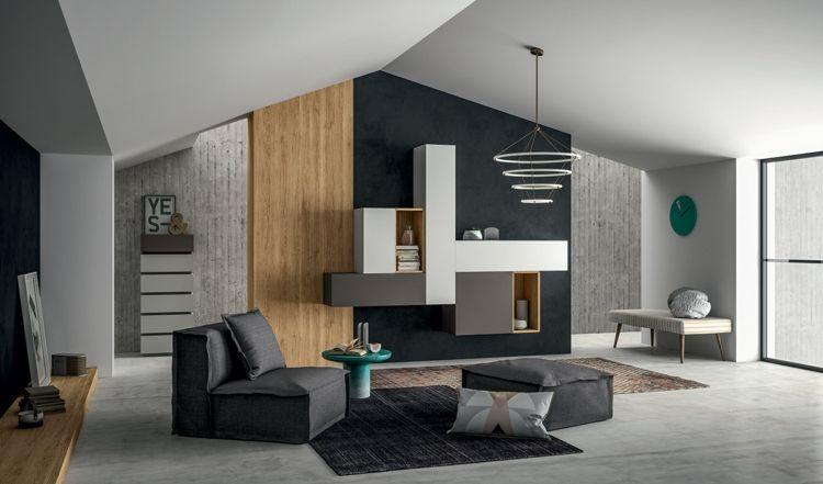 Wohnwand Im Wohnzimmer Weiss Grau Modern Modulsystem Schwarz Wand Akzent