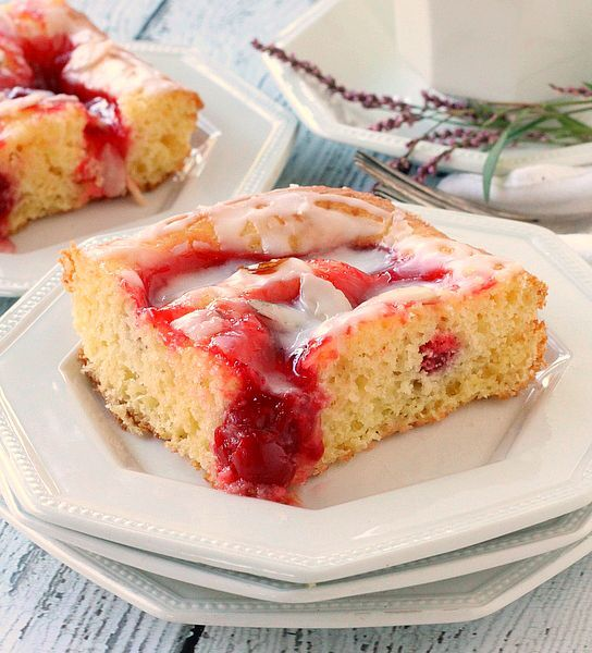 Glazed Cherry Coffee Cake With Sour Cream Water Eggs Cake Mix Cherry Pie Filling Sliced Almonds Confec Cherry Coffee Cake Coffee Cake Coffee Cake Recipes