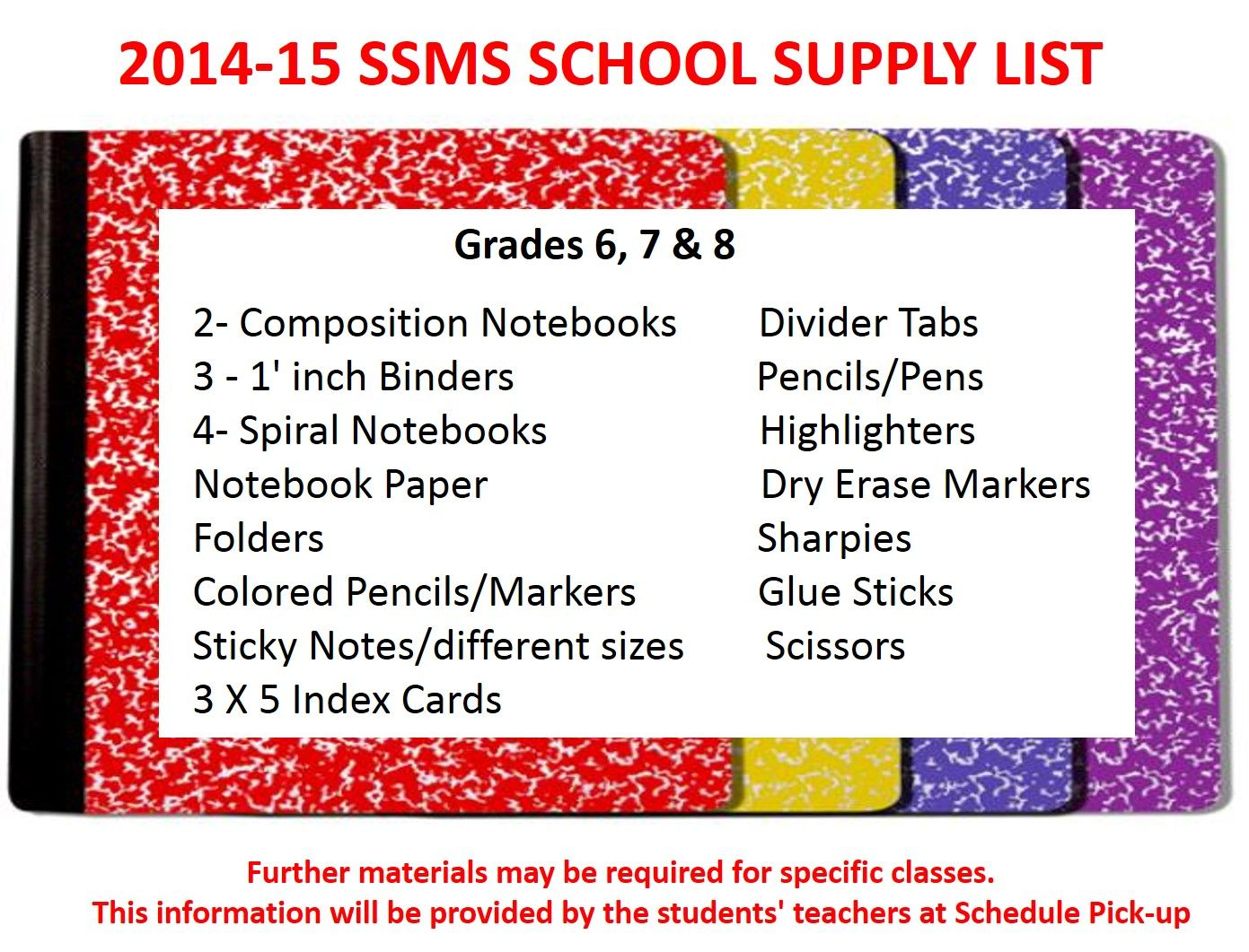 Images of 7th Grade School Supply List - #rock-cafe