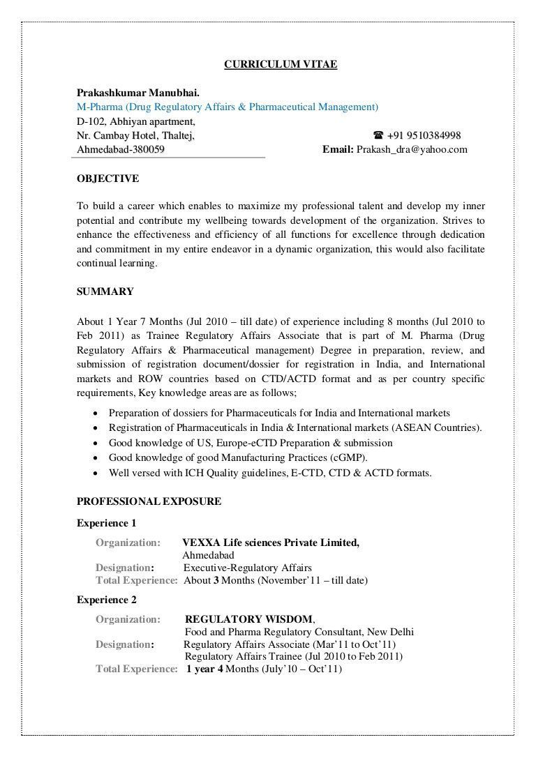 Resume Format Quality Assurance Pharma , assurance